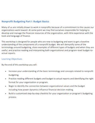 basic nonprofit budget