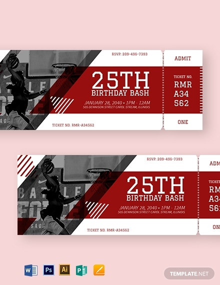 basketball birthday party ticket template