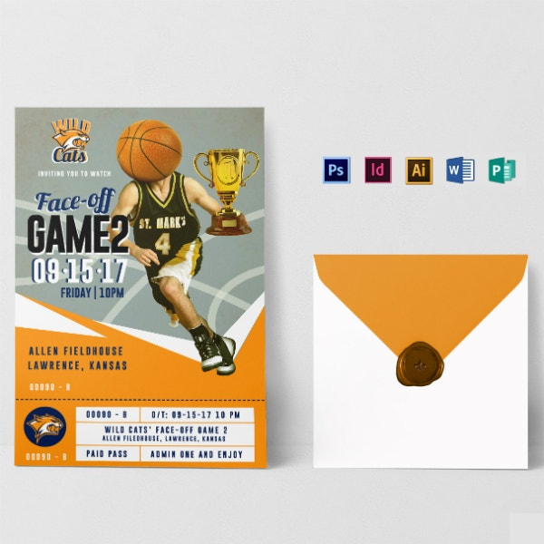 basketball sports ticket invitation sample