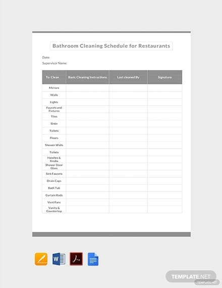 bathroom cleaning schedule for restaurants template