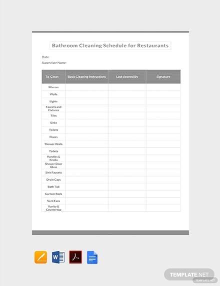 bathroom cleaning schedule for restaurants template1