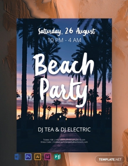 beach dj party flyer example