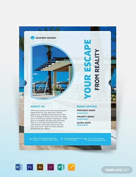 beach resort advertising flyer template