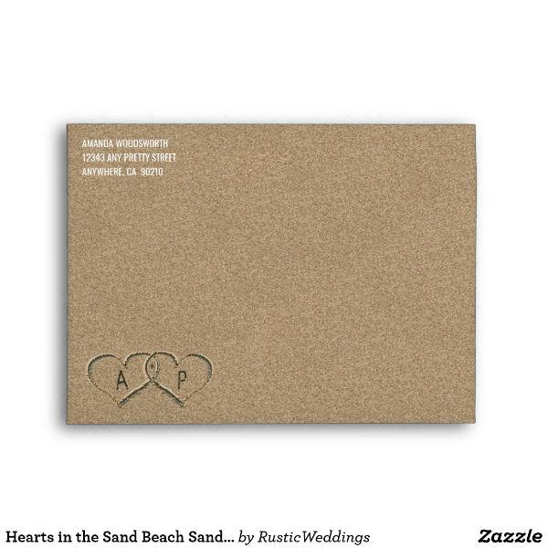 beach sand wedding envelope template