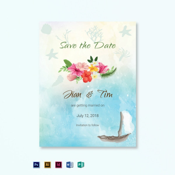 beach save the date wedding template