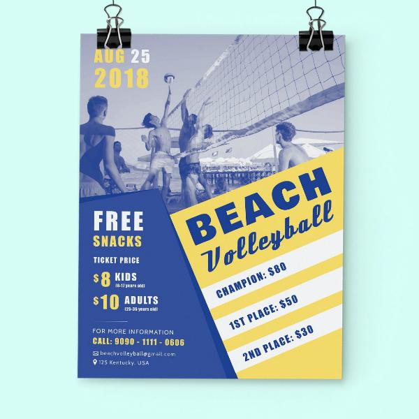 beach volleyball summer flyer example