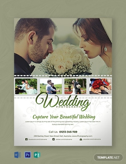 beautiful wedding photography flyer layout
