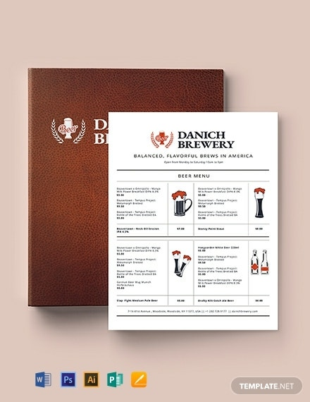 10  pub menu templates