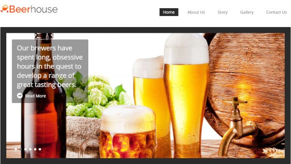 beerhouse one step installation wordpress theme