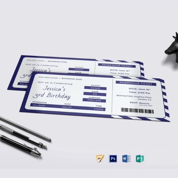 birthday boarding pass ticket format