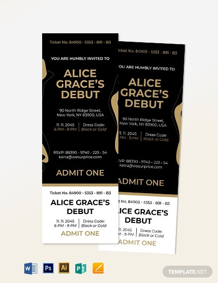 birthday debut invitation ticket layout