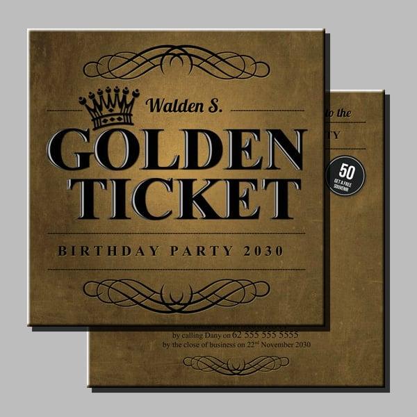 Birthday Party Golden Ticket Template