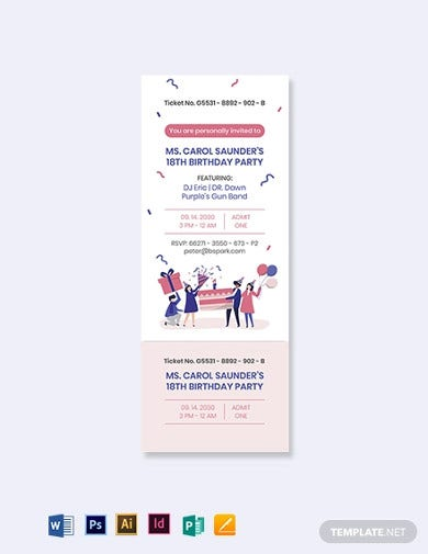birthday party ticket invitation template