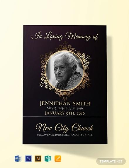 black funeral prayer card template