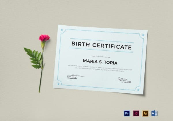 blank birth certificate template mockup