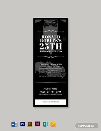 blank birthday ticket template