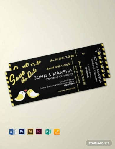 blank wedding ticket template