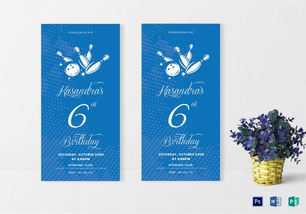 blue bowling party invitation template
