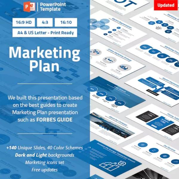 Blue Marketing Plan PowerPoint Template