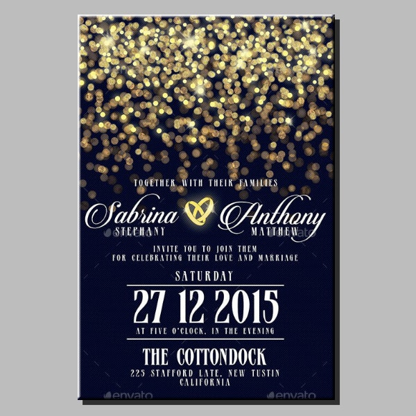Bokeh Lights Wedding Invitation Template