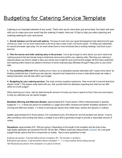 budgeting for catering services templates