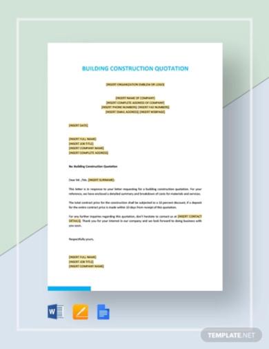 building construction quotation template