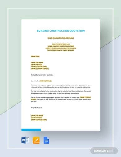 16 Free Construction Quote Templates Word Pages Google Docs Free Premium Templates