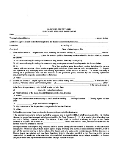 business purchase and sale agreement