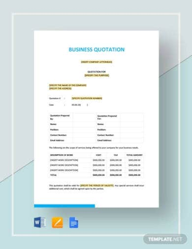 business quotation template