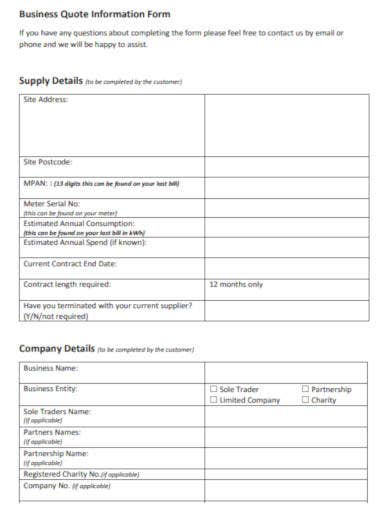 business quote information form