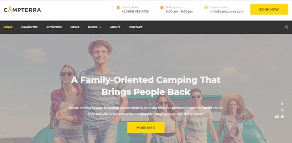 campterra – responsive wordpress theme