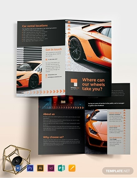 car rental bi fold brochure template