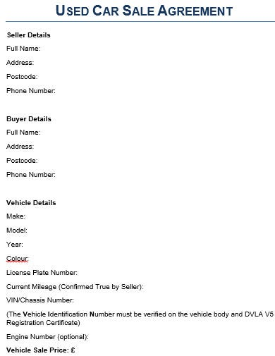 car sale agreement template in doc