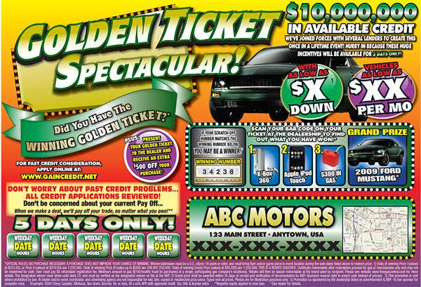 car sale ticket sample