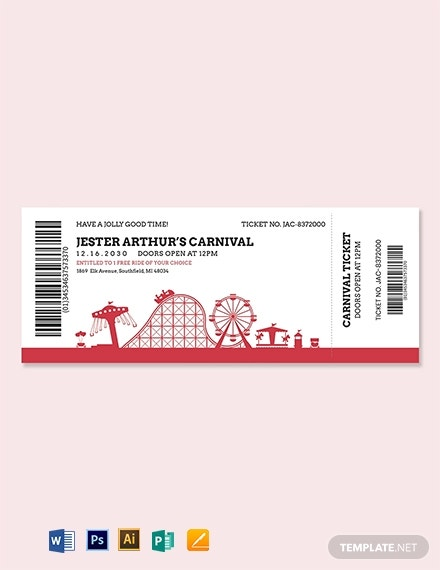 carnival event ticket template 1