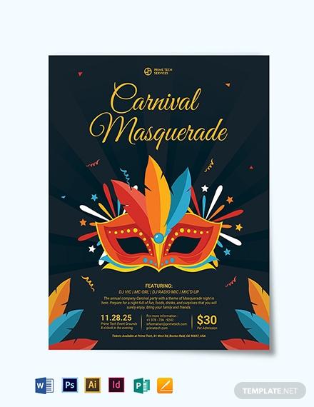 carnival masquerade ball party invitation template