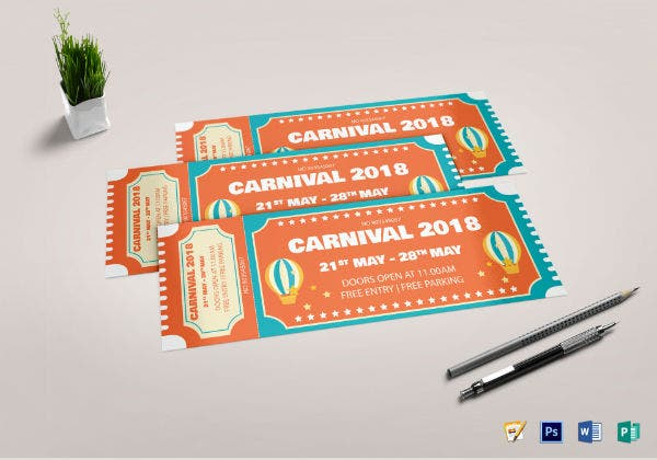 carnival party event ticket template