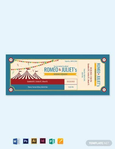 carnival wedding ticket template