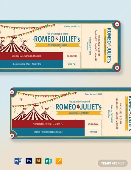 carnival wedding ticket template1