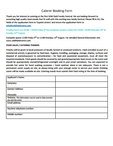 caterer booking form template