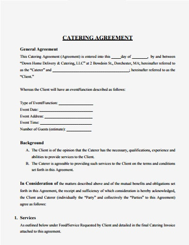 10+ Catering Service Agreement Template - PDF | Free ...