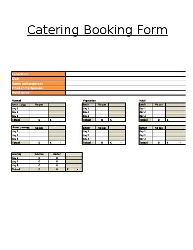 catering booking form format