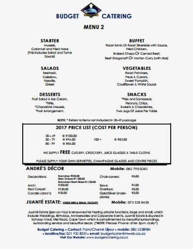 catering budget format template