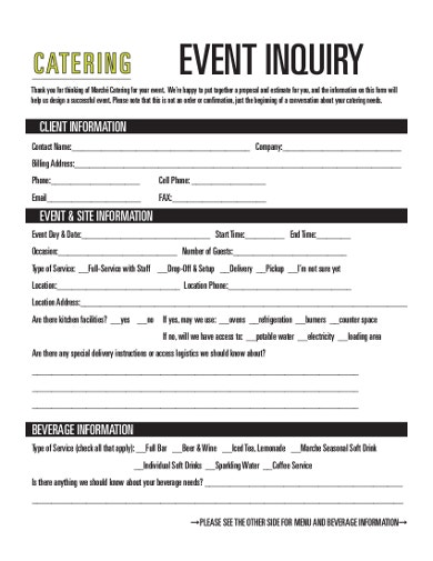 catering event inquiry form