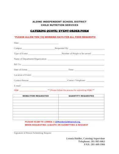 catering event quote form
