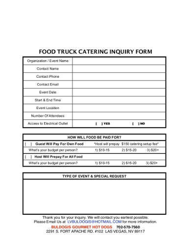 catering inquiry form format