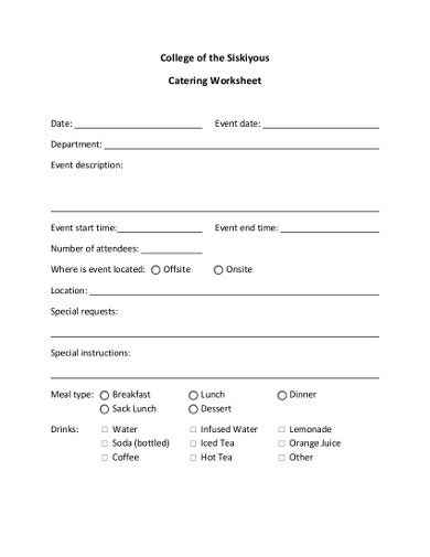 10+ Catering Worksheet Templates - PDF, DOC | Free & Premium ...
