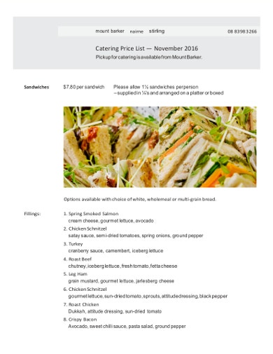 catering price list sample