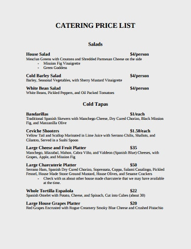 catering price list template