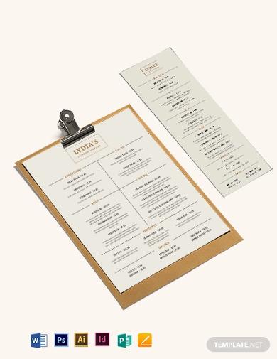 catering service menu template
